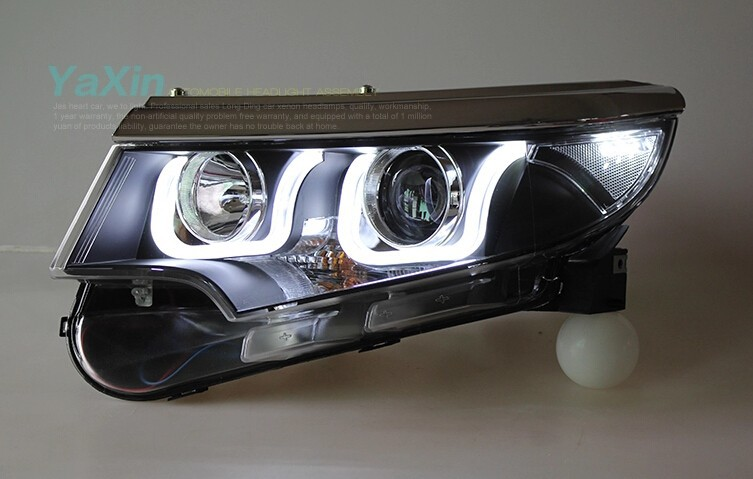 Auto Clud FOR FORD EDGE led Headlights 2011-2014 bi xenon lens Double U LED DRL xenon H7 For FORD EDGE head lamps car styling