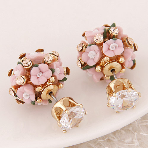 Double Faced Stud Earring,fantasies for womens, Zinc Alloy, with Czech Rhinestone, gold color plated 15x8mm, Sold By Pair(China (Mainland))
