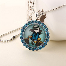 1pc cartoon womens vintage silver tone round crystal jane is a english girl pendant necklace children