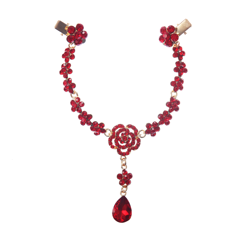 2016 Fashion Crystal Bridal Sparkling Necklace Plant Style Hair Forehead Jewely Accessories Red Zinc Alloy Hairband 19CM NK-003(China (Mainland))