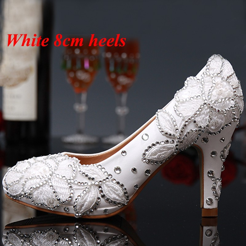 Luxury White Rhinestone Flower High Heeled Diamond Bridal Shoes Bridal Wedding Dress Shoes for Lady Party Prom Evening Event