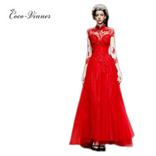 C.V fashion long sleeve stand collar Red evening dress banquet 2017 spring new elegant lace bridal evening long dress(China (Mainland))