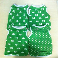 New Dog Clothes Skull Bones Polka Dots Print Green Navy Blue Casual Style Pet Puppy Teddy Spring Summer Clothing for Dogs 1pcs