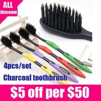 Free shipping high quality adult korea nano toothbrush bamboo charcoal 4pcs=1set/lot