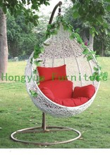Outdoor white rattan garden swing chair with cushions(China (Mainland))