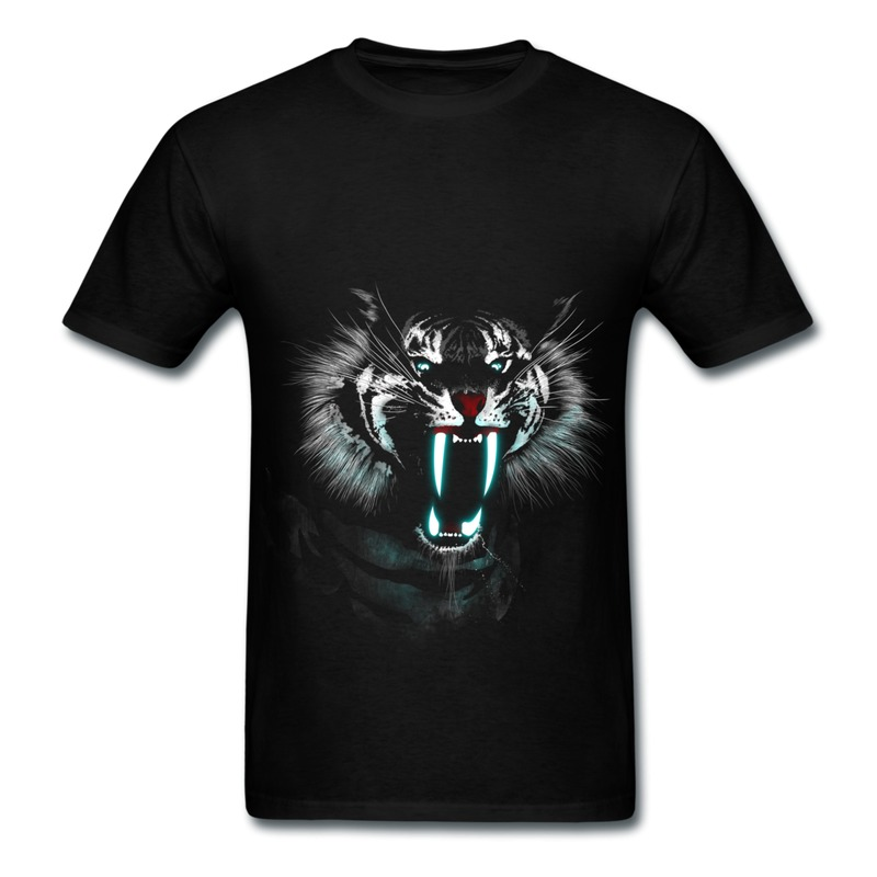 2014 Fashion Pre-Cotton T-Shirt Men White Fang Printing Logo T Shirts Men Slim Fitted(China (Mainland))