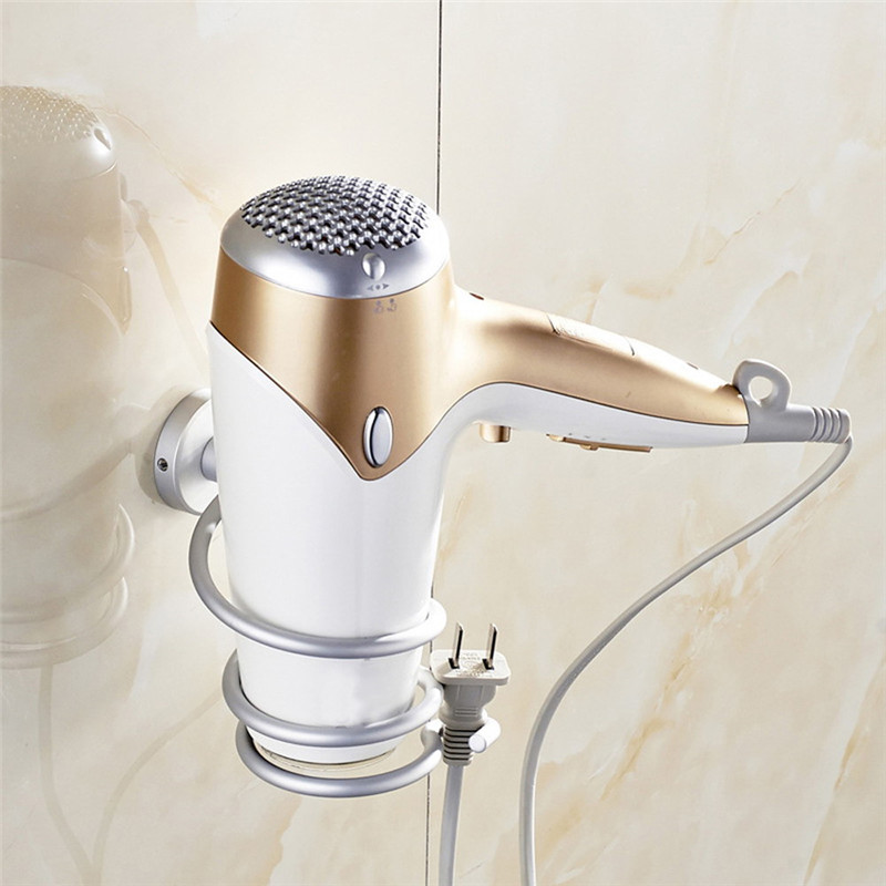 New Arrival Aluminum Bathroom Wall Shelf Wall-mounted Hair Dryer Rack Storage Hairdryer Support Holder Spiral Stand(China (Mainland))
