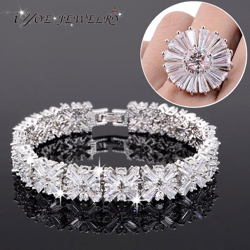 Noble Jewelry Sets For Women Cocktail Wedding Bridal Bijoux Princess Cut Shiny Zircon Crystal Bracelet  Ring Set Rhodium Plated