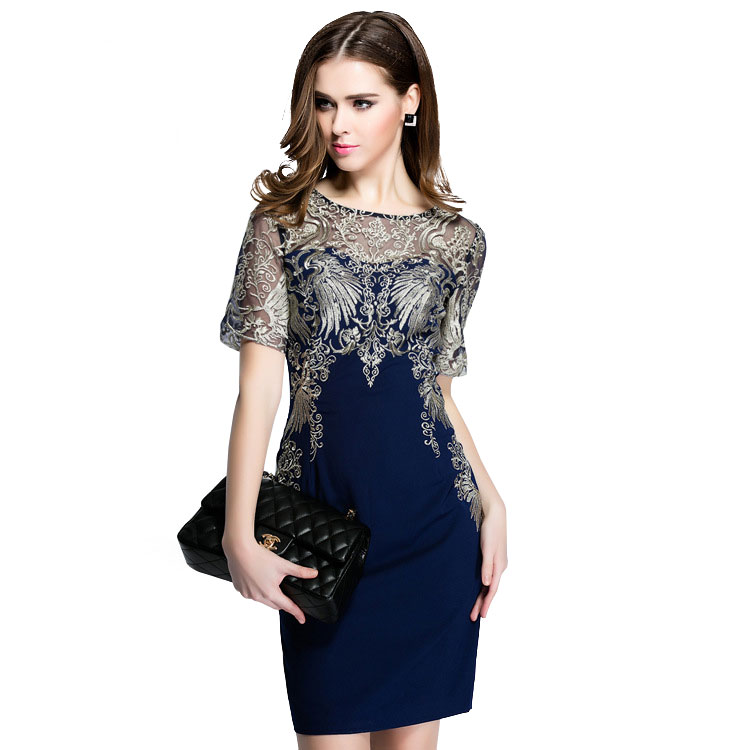 Women Embroidery Slim Short Sleeve Dresses 2016 New Spring Summer Plus Size O-Neck Mini Bodycon Pencil Vestidos 1901(China (Mainland))