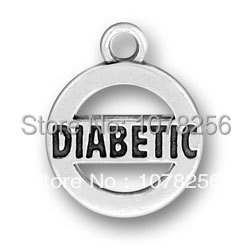 hot selling 100pcs/lot zinc alloy antique silver plated circle diabetic word charms(China (Mainland))