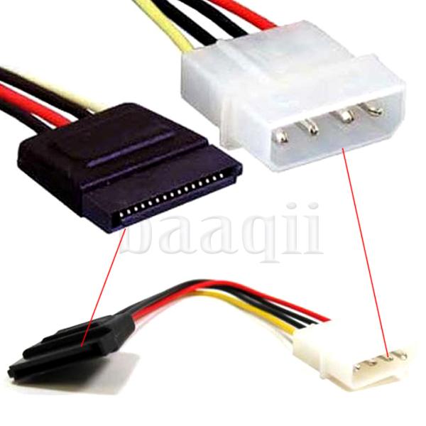 Lots of 5 PCs Molex IDE 4 pin to SATA 15 pin Power Connector Adapter Cable 15cm CB210(China (Mainland))