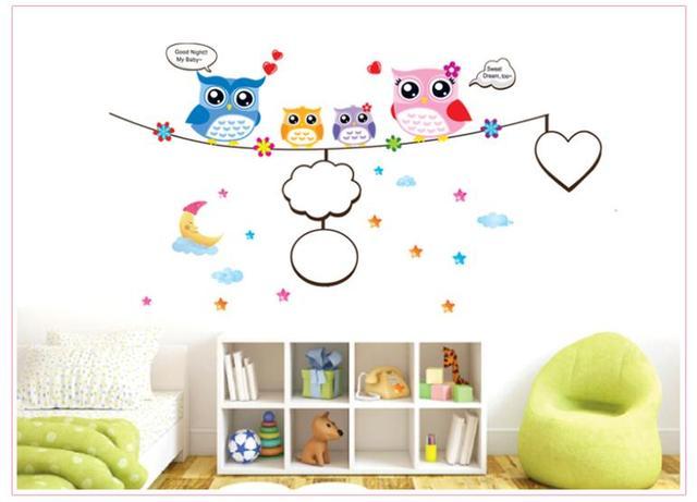 Красочные сова детская стикер стены номер съемный фоторамка стены домашнего декора наклейки