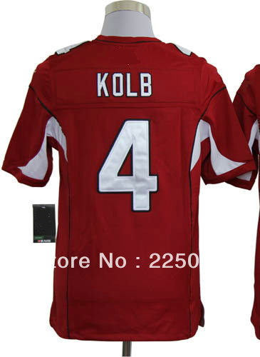Free Shipping American Game Football Jersey #4 Kevin Kolb Red Men's Authentic Game Jerseys Size M-3XL All Stitched(Sewn on)(China (Mainland))