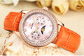 Multi functional Women Quartz Dress Watches Moon Phase Candy Colors Leather Wrist watch Sparkly Crystals Leisure