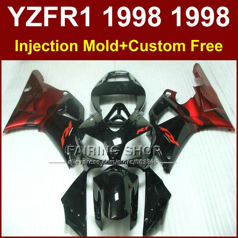 Glossy black red Injection molding motorcycle fairings kit YAMAHA 1998 1999 YZFR1 YZF R1 YZF1000 98 99 fairing parts U8KI