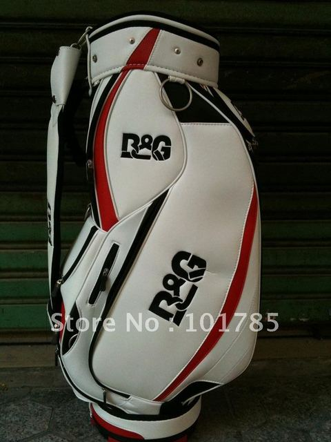 free shipping ! 5% discounts white color B&G brand Sponge Leather golf bag with free gifts