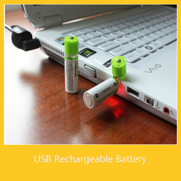 2x New Ni-MH AA 1450mAh 1.2V USB Rechargeable Battery USB Charge Cell, Free shipping!(China (Mainland))
