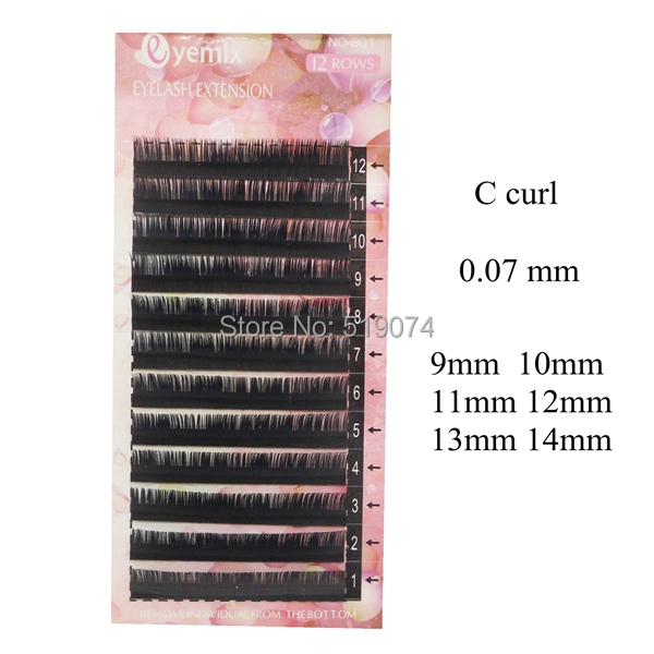 Korea Eyelash Extension/C curl/Stock/9mm-14mm / 0.07 thickness/Individual Eyelashes 20pcs Free Shipping by DHL<br><br>Aliexpress