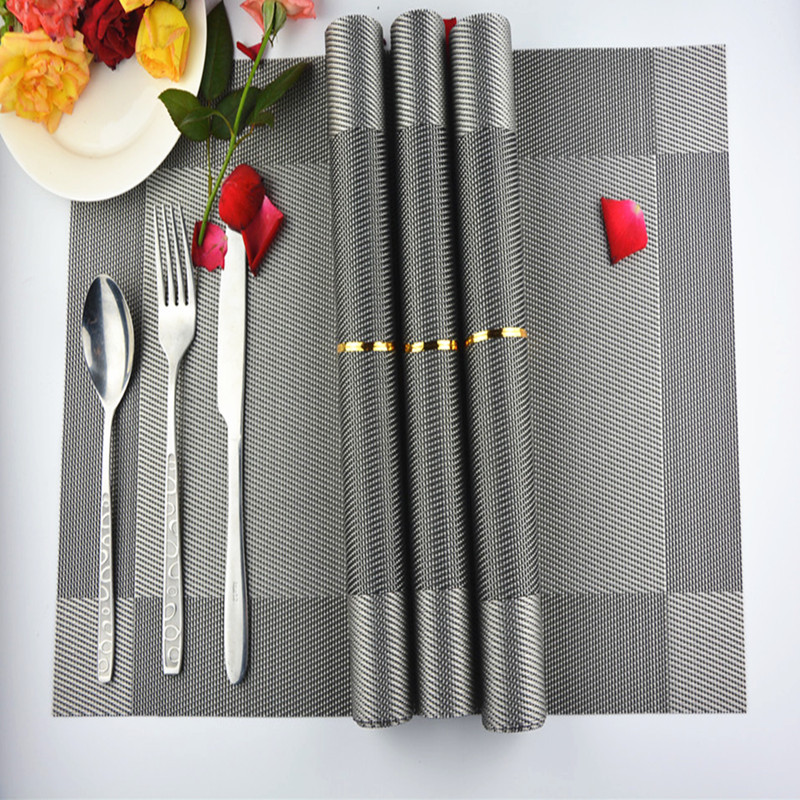 4pieces/lot sliver placemat hot sales plastic modern hotel fashion eco-friendly table mats heat and silp pad(China (Mainland))