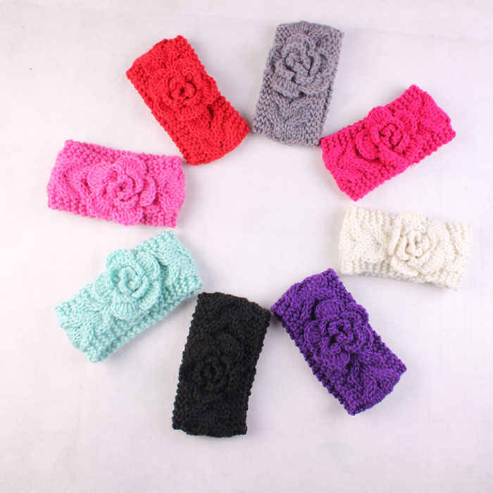 Hot sale baby headwrap Crochet Knit Baby Headband Knit Infant Headbands baby hair accessories newborn photo props 20pcs/lot(China (Mainland))