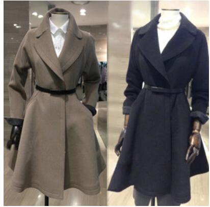 free shipping 2015 winter wool coat female high-end custom waist long coat coat woolen coat girl(China (Mainland))
