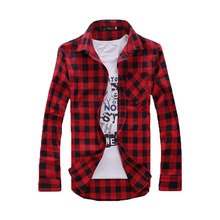 2014 New Arrival Korean Style mens VINTAGE PLAID CHECK LONG SLEEVE SHIRT,slim fit, shirts for men,High Quality T-SHIRT