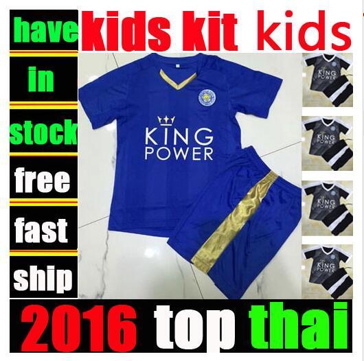 Leicester City kids kit soccer jerseys 16 17 Euro Cup Iceland children football shirts 2017 boys camisa de futebol uniforms(China (Mainland))
