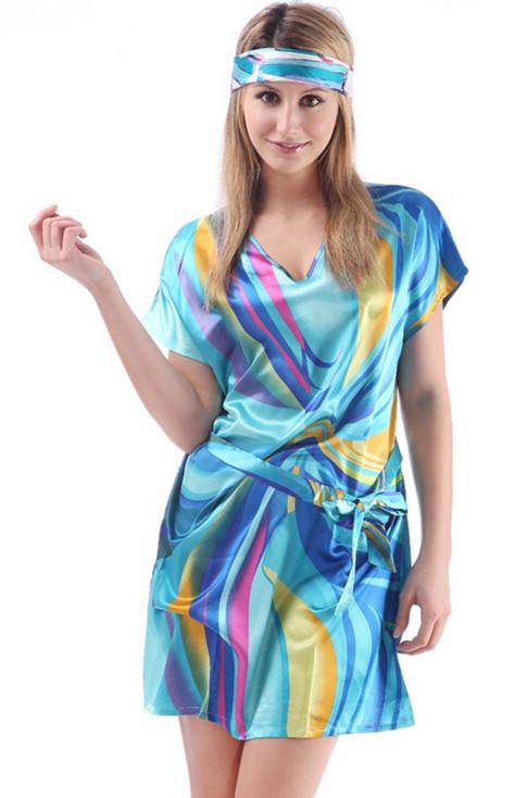 emulation silk plus size nightgowns large size big women pajamas beautiful sexy sleepwear(China (Mainland))