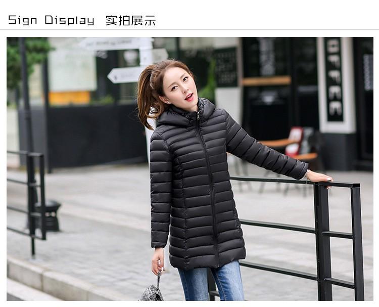 Скидки на В длинный отрезок хлопка 2016 новая зимняя ультра-тонкий пуховик теплый женская с капюшоном зимнее пальто