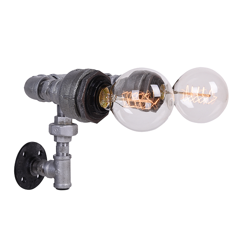 Loft Style Retro Water Pipe Wall Lamp Vintage Aisle Lights Loft Iron Rust brown Color Rural Restoring Ancient Ways-B020<br><br>Aliexpress