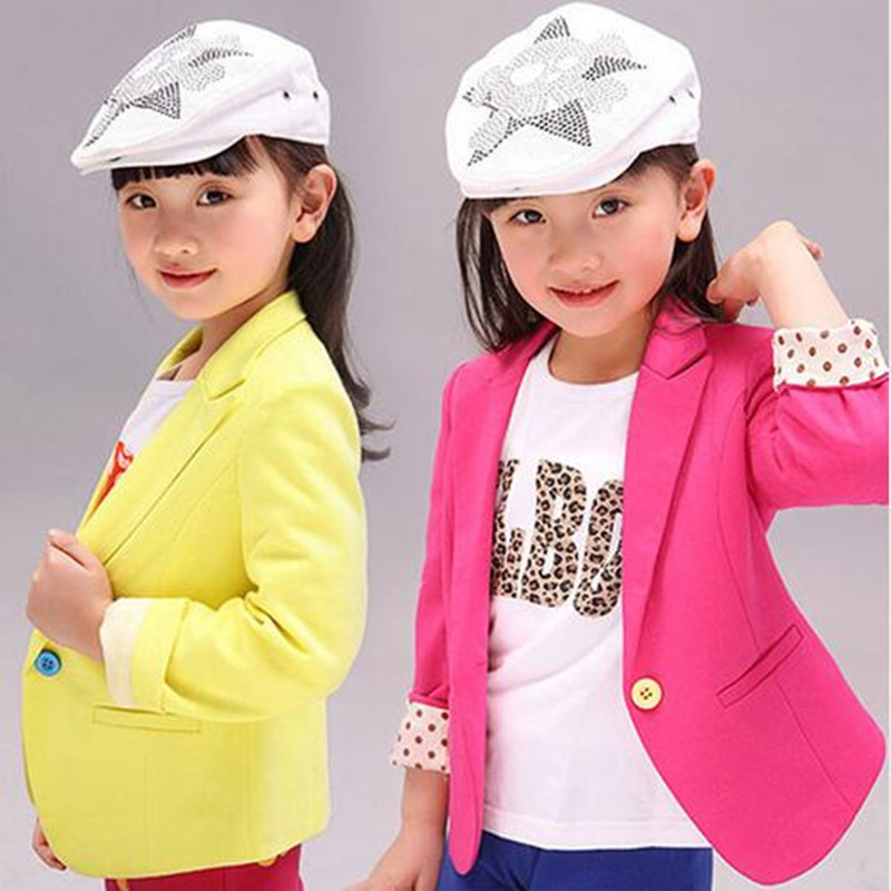NEW Kids Suits Jacket for Girls 2016 New Spring & Autumn Children Brand Coat Trench Girl Blazers Kids Clothing 2 Colors(China (Mainland))