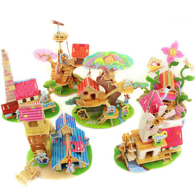 Kids DIY Toys Wood 3D House Puzzle Model Building Kits Wooden Educational Toys 6 Designs For Choose Drop Shipping HT238(China (Mainland))