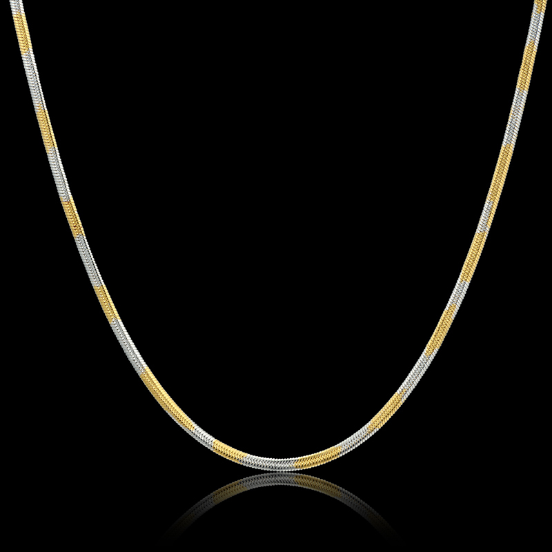 3MM Mini 316L Stainless Steel Chain Necklace for Women,Mix Platinum Plated /18K Real Gold Plated Brand New Trendy Jewelry 2015(China (Mainland))