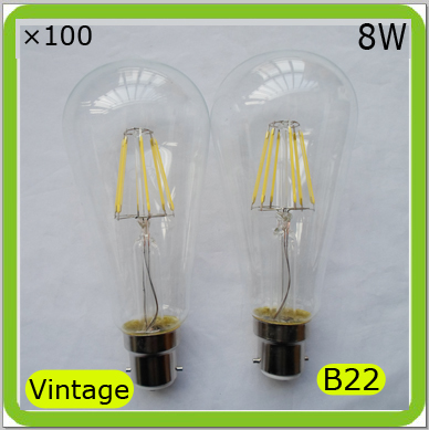 Wholesale manufacturer 100 PACK led Edison bulbs 8W LED vintage bulbs ST64 B22 bayonet led retro bulb 110V 120V 220V 240V 230V<br><br>Aliexpress