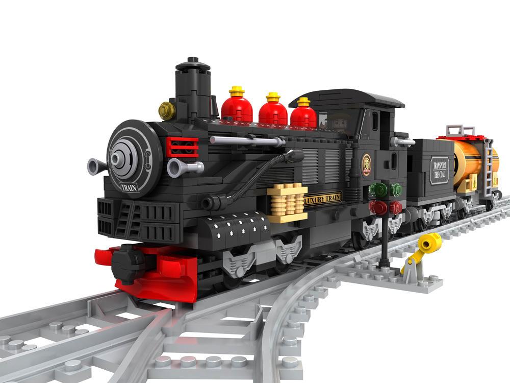 Transportation Building Block Sets Compatible lego steam train 3D Construction Bricks Educational Hobbies Toys Kids - JENS store