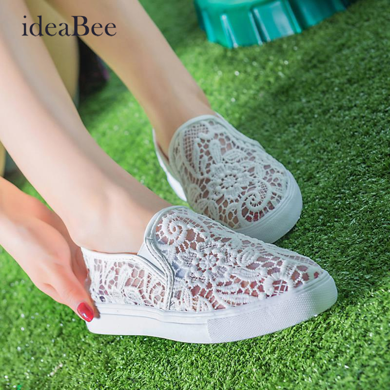ideaBee Latest Design Hollow Out Shoes Fashion Summer Slipony Women Footwear Comfortable Female Cute Girl Lace Mesh Casual Shoes(China (Mainland))
