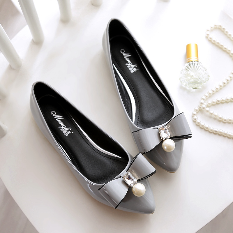 Big Size 40 41 42 43 Gray Black Apricot Purple Patent Leather Sexy Pointy Toe Cute Bowknot Pearls Pendant Women Flats Shoes  -  Fashion Supermarket for U store