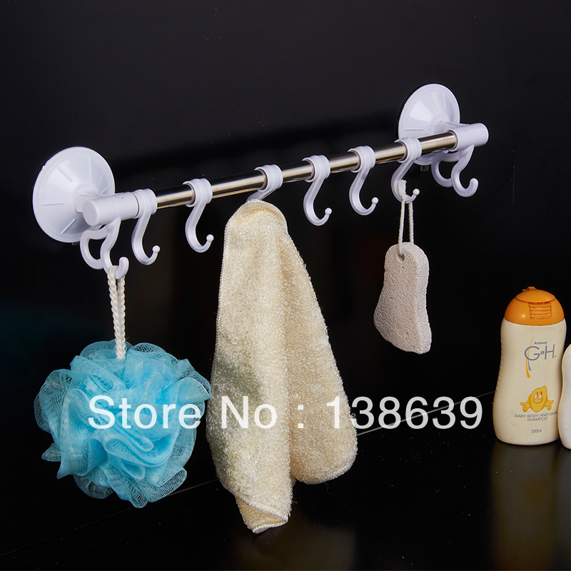 Stainless steel towel bar with hooks,bathroom accessories,cheap towl rail,Free shipping(China (Mainland))