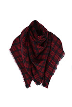 TFGS 5 x (Wool Blend Tartan Plaid Soft Scarf Shawl Blanket Stole Pashmina Red+Black