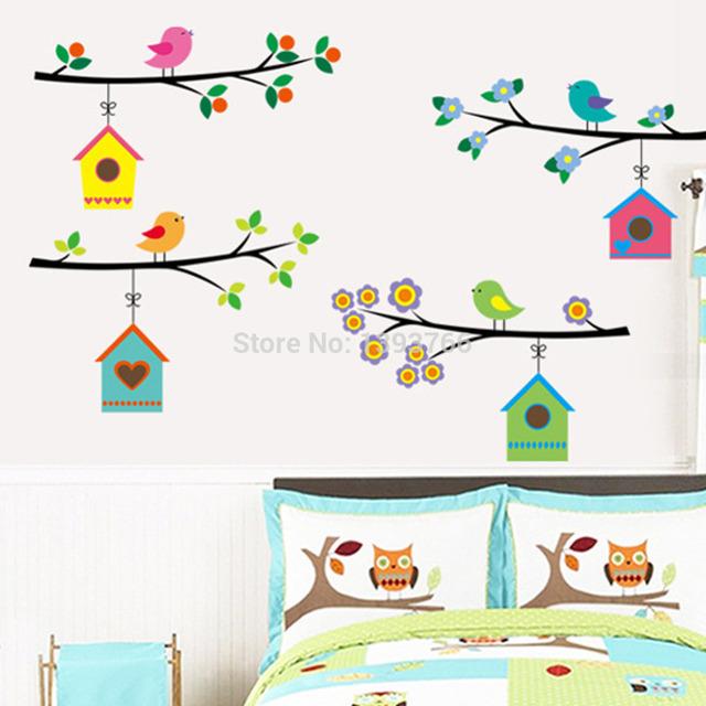 Винтажный филиал bird клетка стена наклейки для детей romms гостиная на фреске кабинет окно дети спальня для дома декор