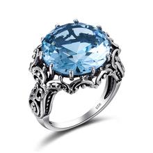 Szjinao FEMME Perfect Blue Stone Кольцо Австрийский хрусталь CZ Лепесток в форме Кольца для Женщин 925 Стерлингового Серебра Ювелирные Изделия Оптом(China (Mainland))