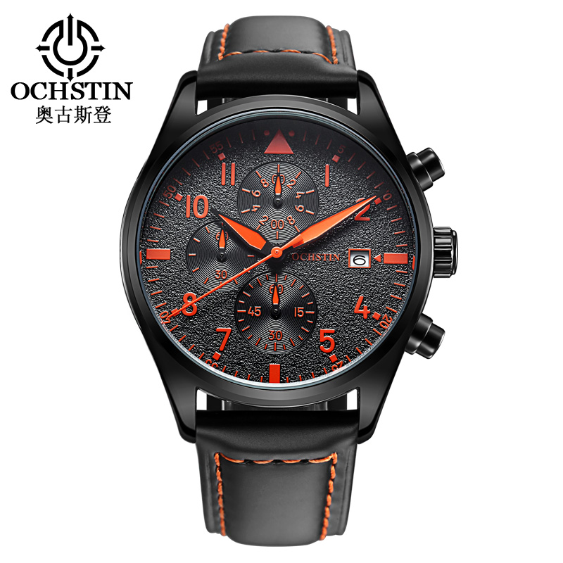 2016 Top Brand Luxury Men's Watches Fashion Style Auto Date Sports Quartz Watch High Quality Leather Strap Chronograph Men Watch(China (Mainland))