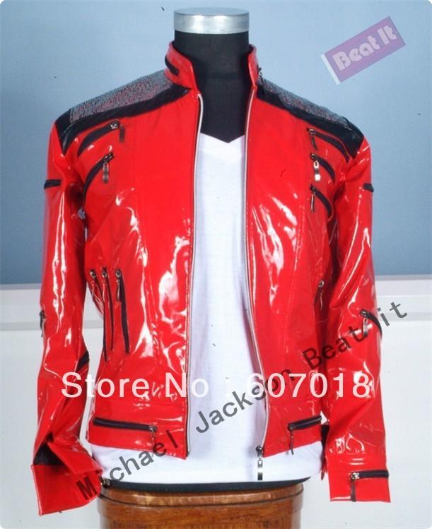 MJ Michael Jackson Classic Jacket Beat It Red Punk Winter Jacket(China (Mainland))