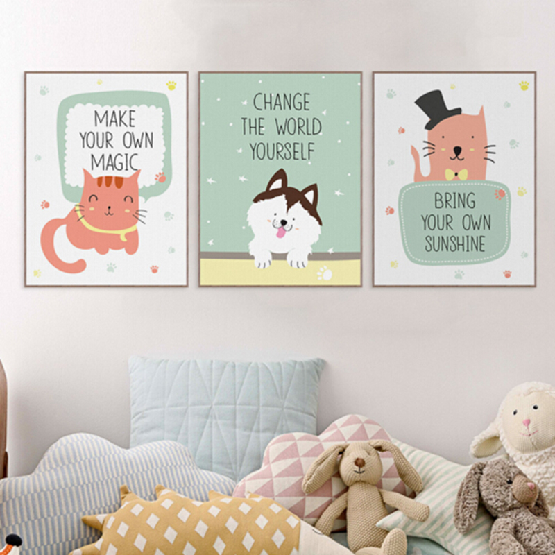 Modern Kawaii Animals Pet Cat Lion Quotes Canvas A4 Art Print Poster Nursery Wall Picture Kids Baby Room Decor Painting No Frame(China (Mainland))