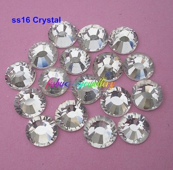 Free Shipping! 1440pcs/Lot, ss16 (3.8-3.8mm) Crystal/Clear Flat Back Nail Art Non Hotfix Rhinestones