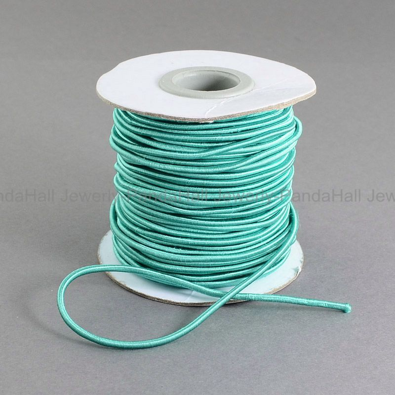 Round Elastic Cord, with Nylon Outside and Rubber Inside, LightSeaGreen, 2mm; 30m/roll(China (Mainland))
