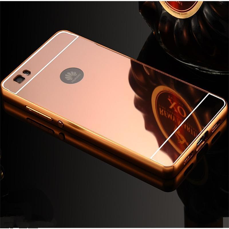 Гаджет  2015 New Style For Huawei P8 Case Luxury Ultrathin Mirror Metal Aluminum+Acrylic Hard Back Cover Phone Bag Accessory None Телефоны и Телекоммуникации