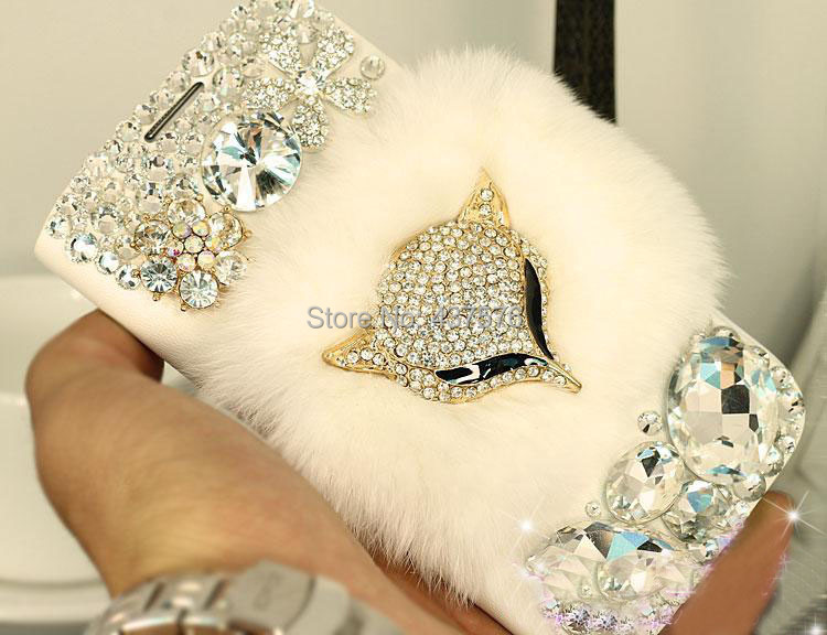 Luxury Warm real top rex rabbit hair fur plush Diamond Crystal leather shell case Cover samsung galaxy s5 i9600