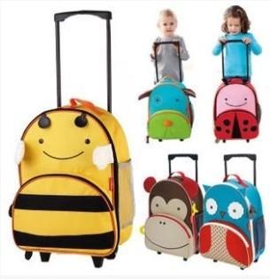 Cartoon Animal Canvas Trolley School Bag wheels / Weekender Travel rolling Luggage Children/ kids 32*14*41cm - Kids Kingdom Store store