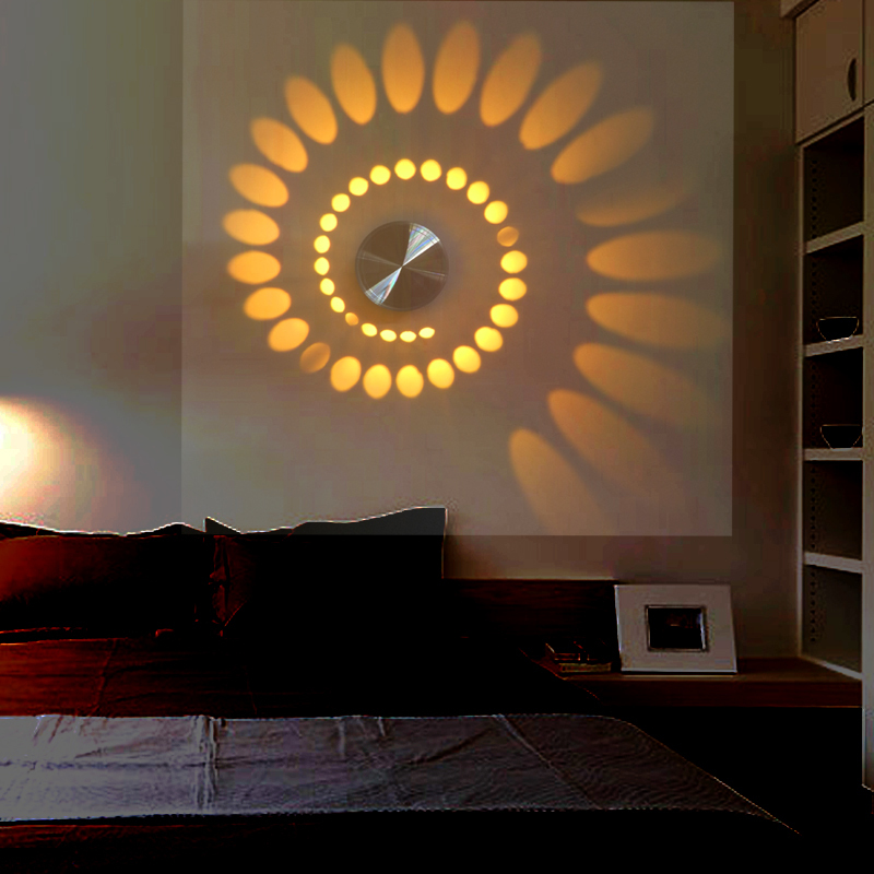New Design Led Modern Light Aluminum Wall Lamp Novelty 3w Projection Lamp For Home Decoration Free
